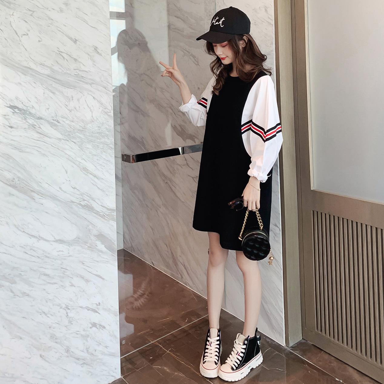 连衣裙女2019秋季装新款韩版宽松假两件蝙蝠袖中长裙休闲卫衣裙子
