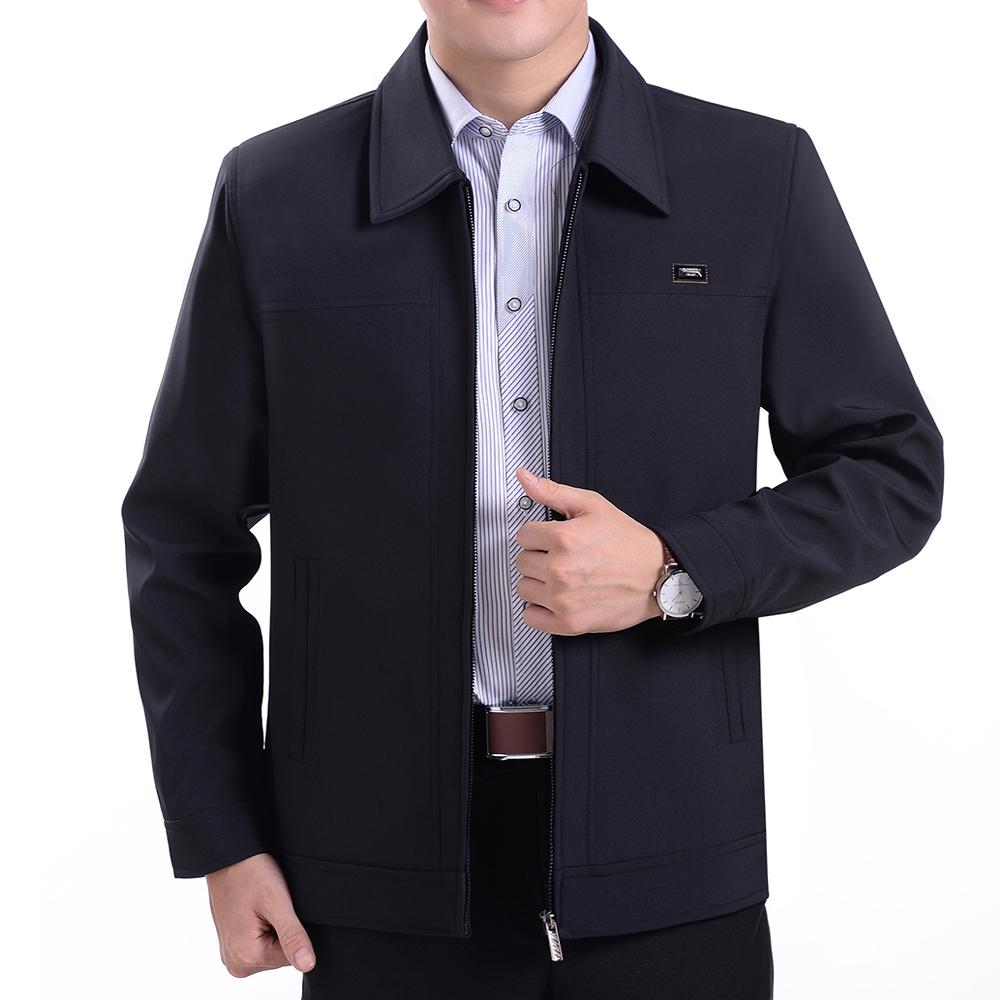 春秋冬季中年男装上衣休闲薄款外套夹克中老年人男士夹克衫爸爸装图片