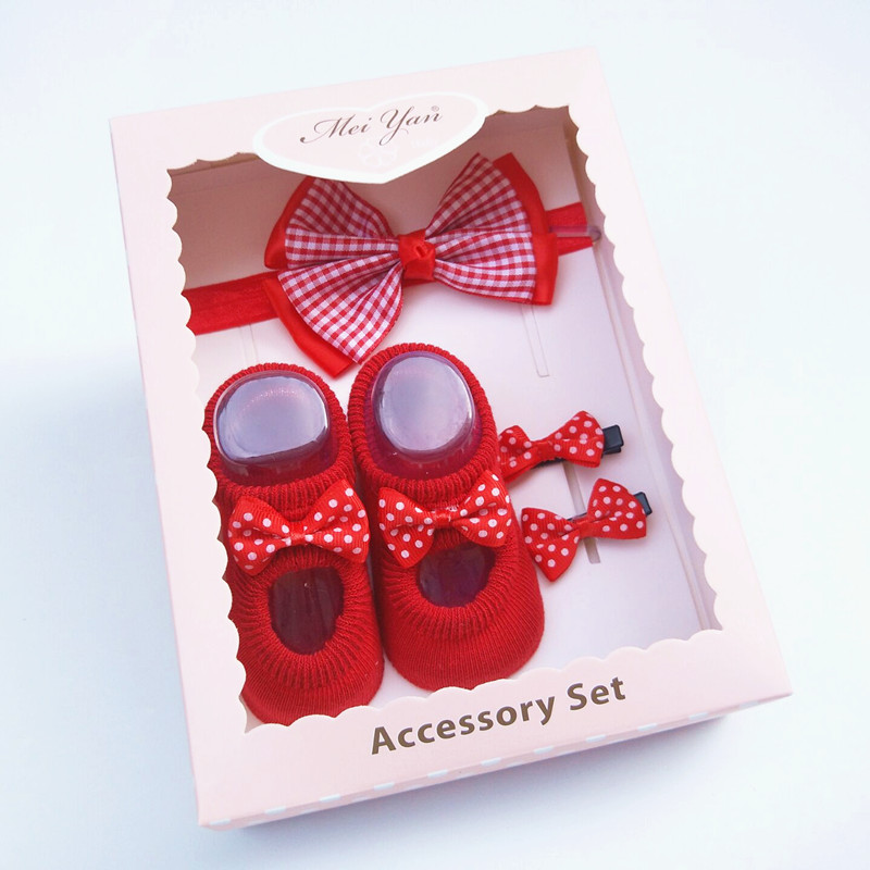 Korean babys hair and socks set, babys headband gift box, babys full moon gift headdress