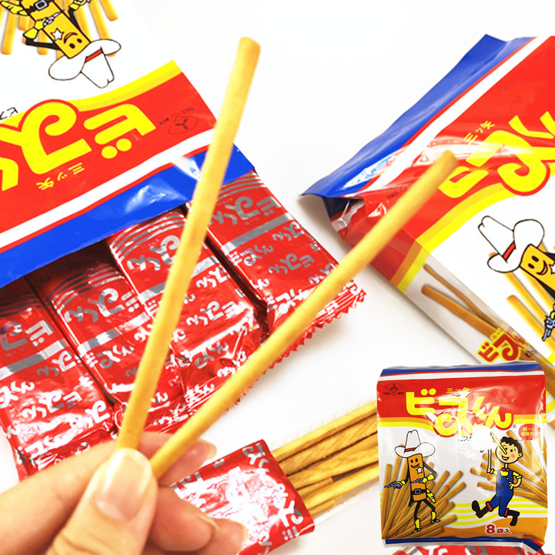 Japanese snacks three arrow fruit biscuit stick 18G * 8 bags puffed biscuit snack return gift afternoon tea 144g