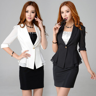 Korean version of the small suit jacket sleeve career skirt suits beauty salons club wedding clothes 8312