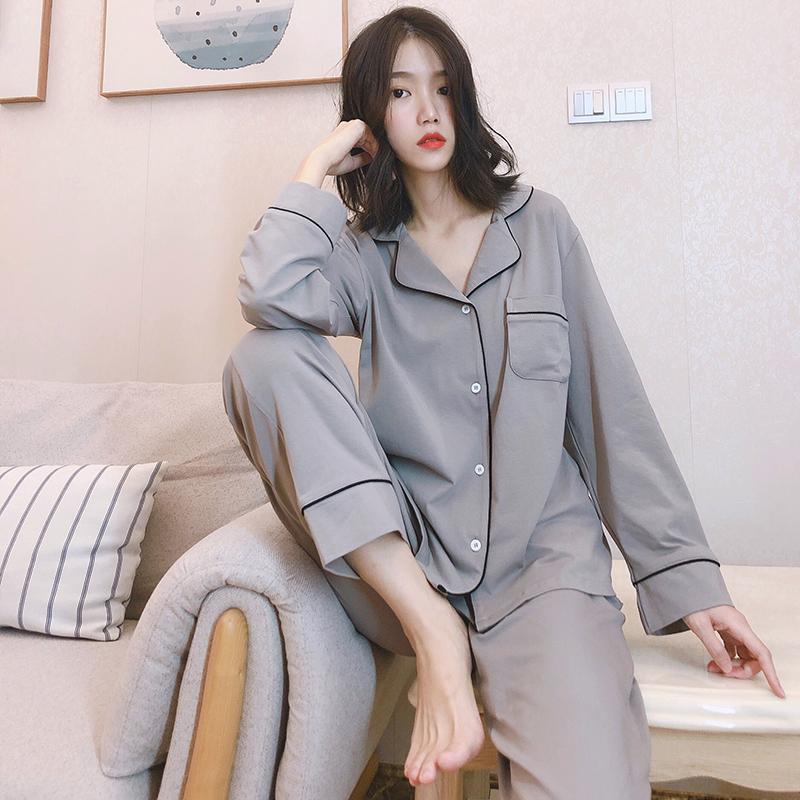 日系情侣睡衣女春秋可外穿纯棉男士秋冬薄款家居服两件套装针织棉