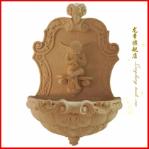Shanghai Dragon Chapter European sandstone sculpture embossed courtyard wall hanging sprinkler hotel bathing decoration-Angel playing flute