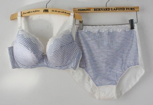 带钢托防下垂 纯棉舒适哺乳文胸套装 孕妇内衣内裤套装