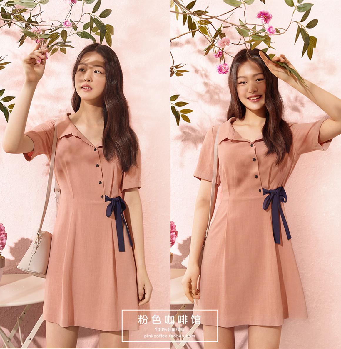 韩国直邮正品代购ROEM18夏款女款时尚纯色短袖连衣裙RMOW825R32