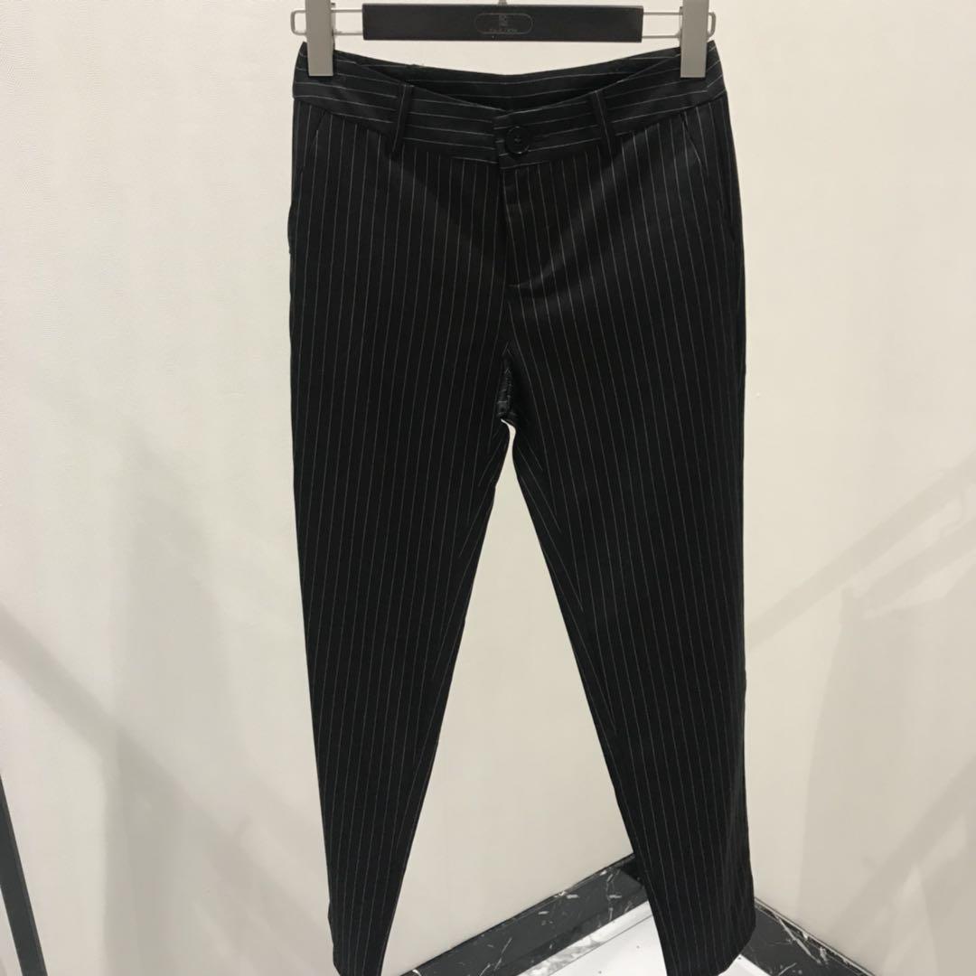 轻奢女装设计师品牌专柜精品条纹长裤032759