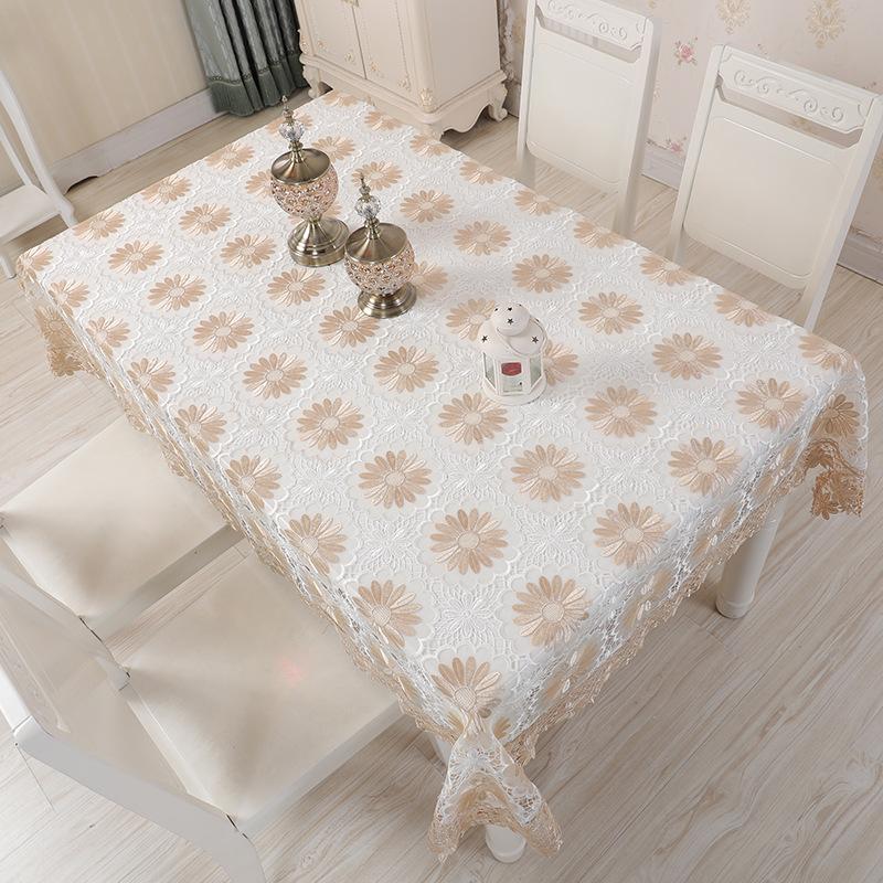 洋風のレースの刺繍浅いコーヒーの陽花のテーブルクロス防水防熱防塵フリーのテーブルクロスティーの防塵カバー