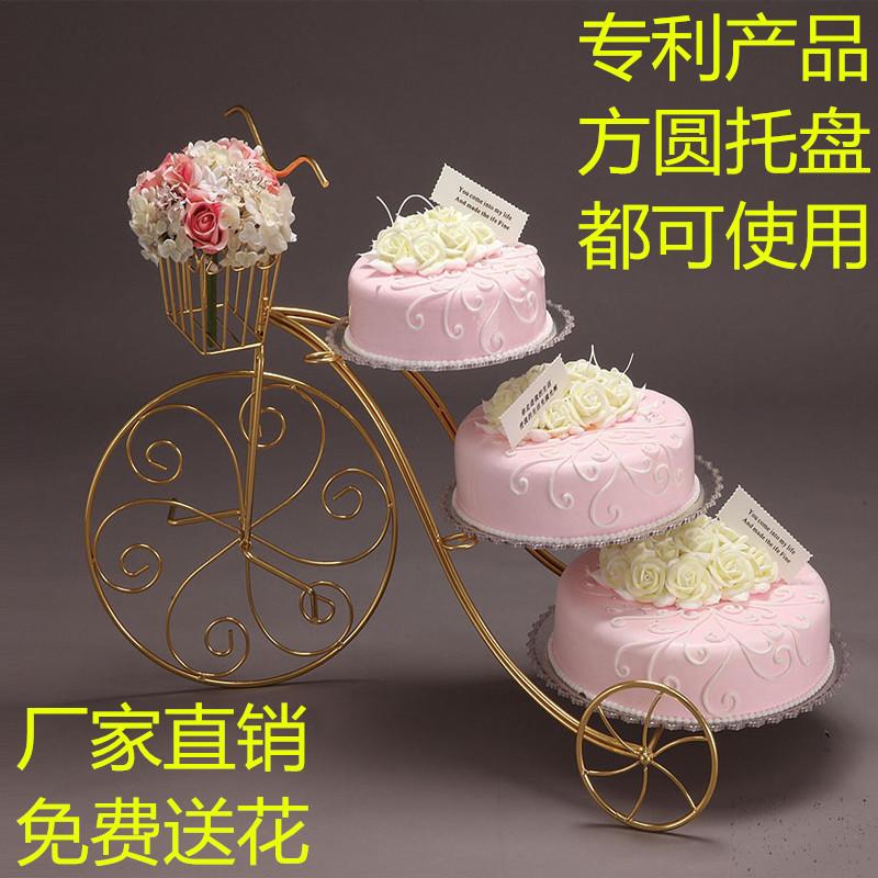 新款欧式创意铁艺蛋糕架自行车婚庆三层糕点架生日多层甜品展示台