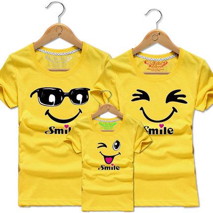 亲子装夏装一家三口四口短袖t恤全家母女母子装笑脸定制幼儿班服