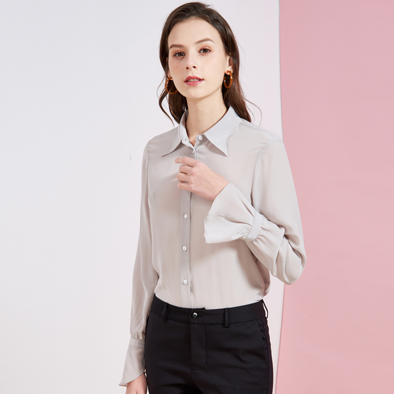 莉兰秀人春夏新品女装气质修身百搭荷叶边袖真丝衬衫