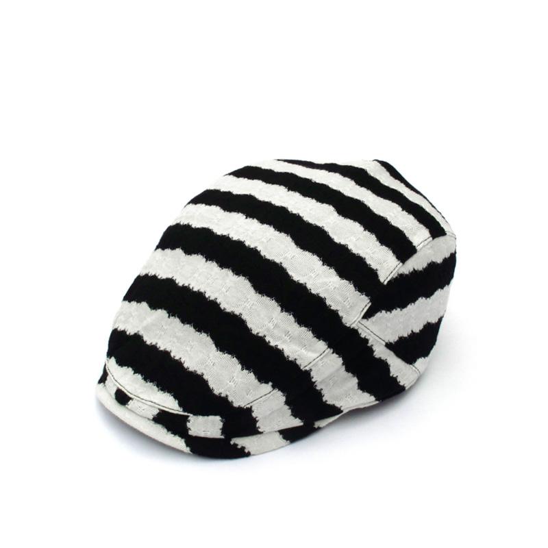 新款夏天时尚帽子女士优雅鸭舌帽 韩版清新帽子潮 黑白条纹贝雷帽