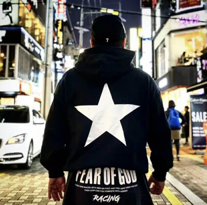 潮物Woo Fear Of God Star Cream Hood高街FOG五角星印花帽衫衛衣