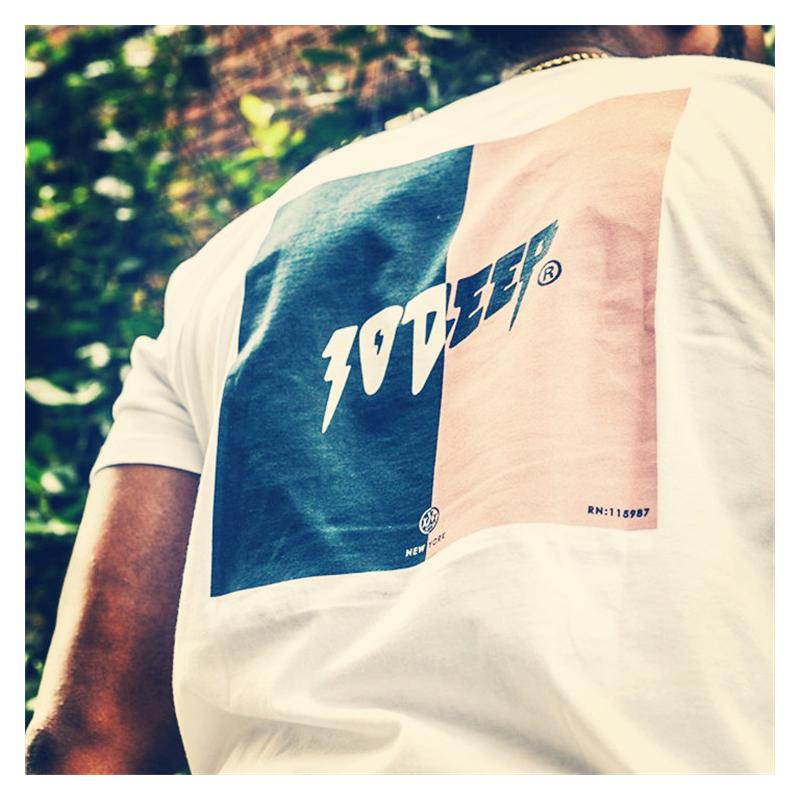 【潮物Woo】10 Deep Split Tee 拼接 撞色 Logo 情侣 短袖T恤