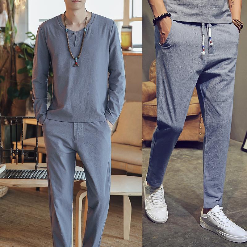 DY08*男士棉麻长袖T恤套装长裤亚麻料休闲两件套装男*P65