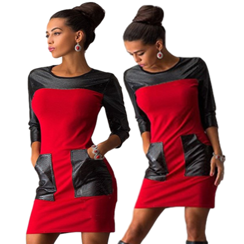 Amazon express Europe and America PU leather stitching casual dress womens autumn decoration body show thin round neck pencil skirt