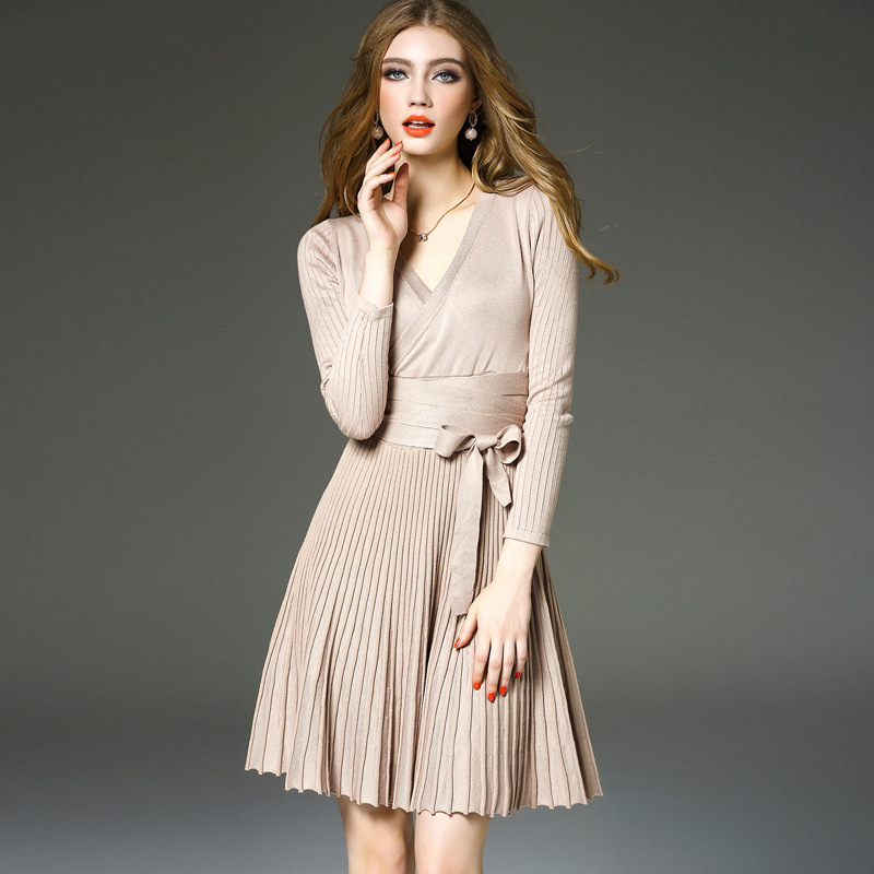 Korean long sleeve lace up knitted dress in autumn 2020