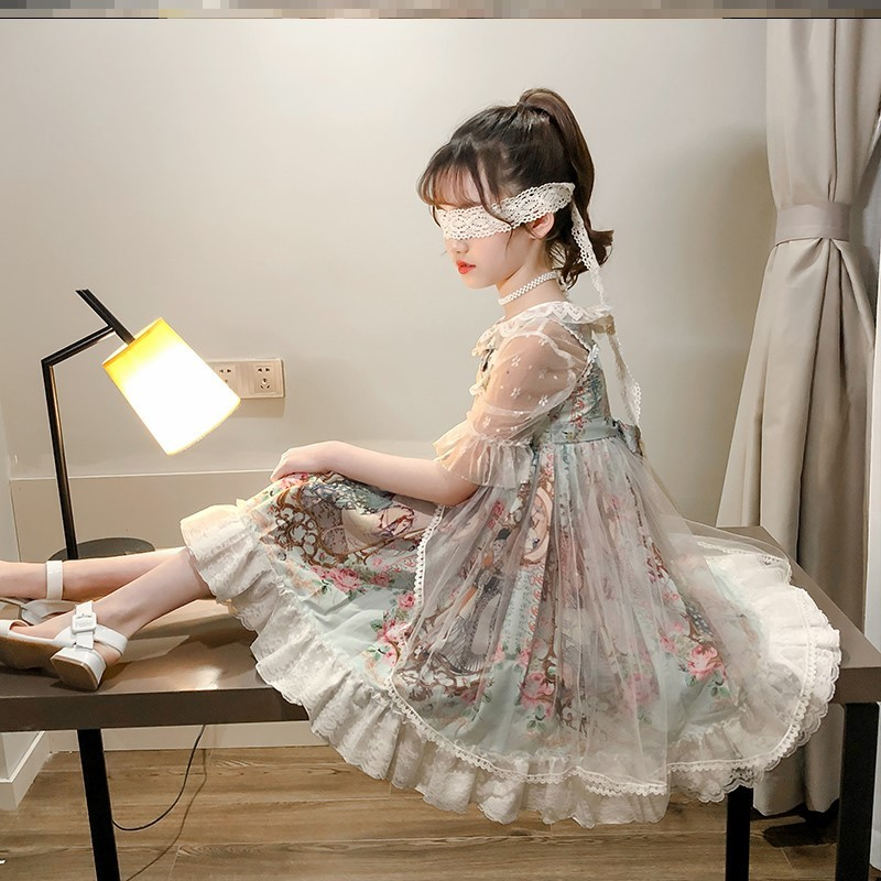 Lovely sling Lolita princess dress children Girls Summer new Lolita suit primary school students