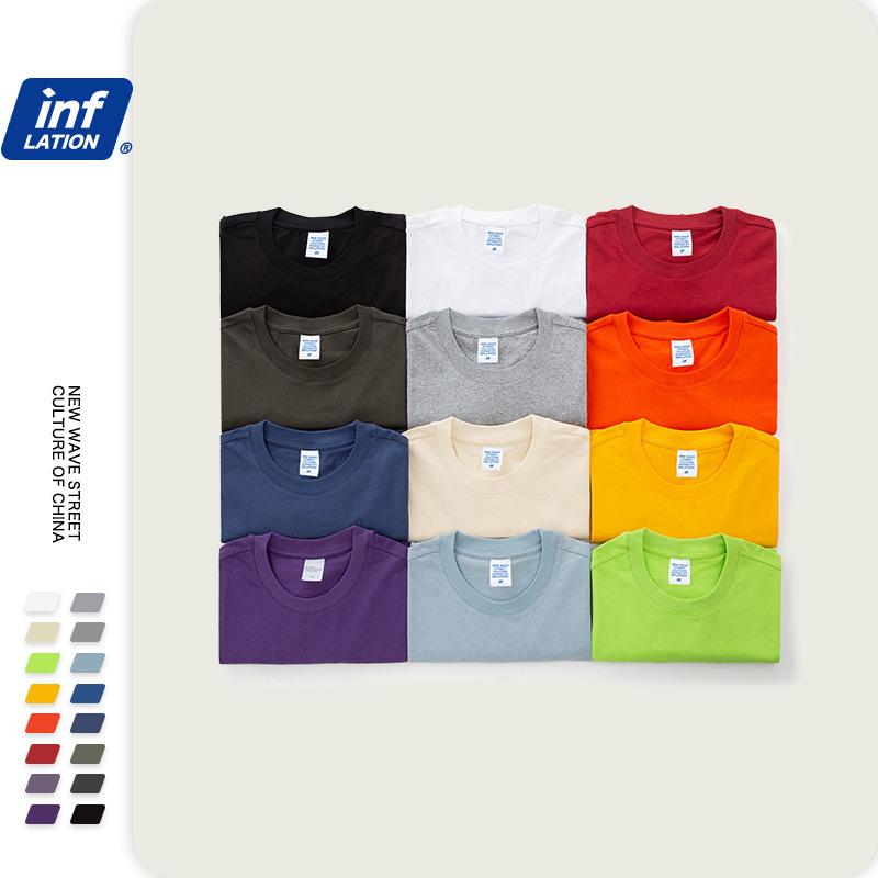 Summer new fashion multi color oversize off shoulder solid mens large loose crew neck short sleeve T-shirt