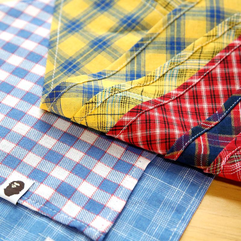 宠物狗狗口水巾大型犬三角巾围脖金毛萨摩领巾柴犬围巾英伦格子布