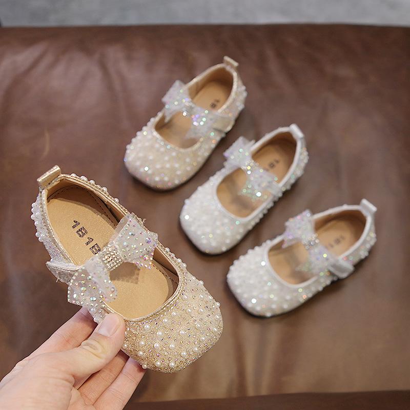2021春秋季新款珍珠公主鞋舒适时尚童鞋淑女可爱休闲蝴蝶结儿童鞋