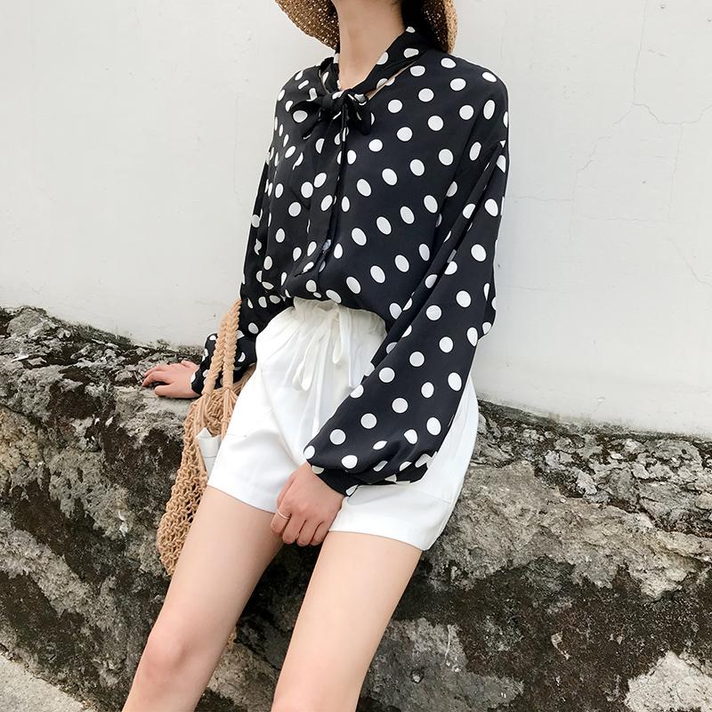 2018夏季新款韩范灯笼袖系带波点雪纺衬衫上衣女圆点休闲长袖衬衣