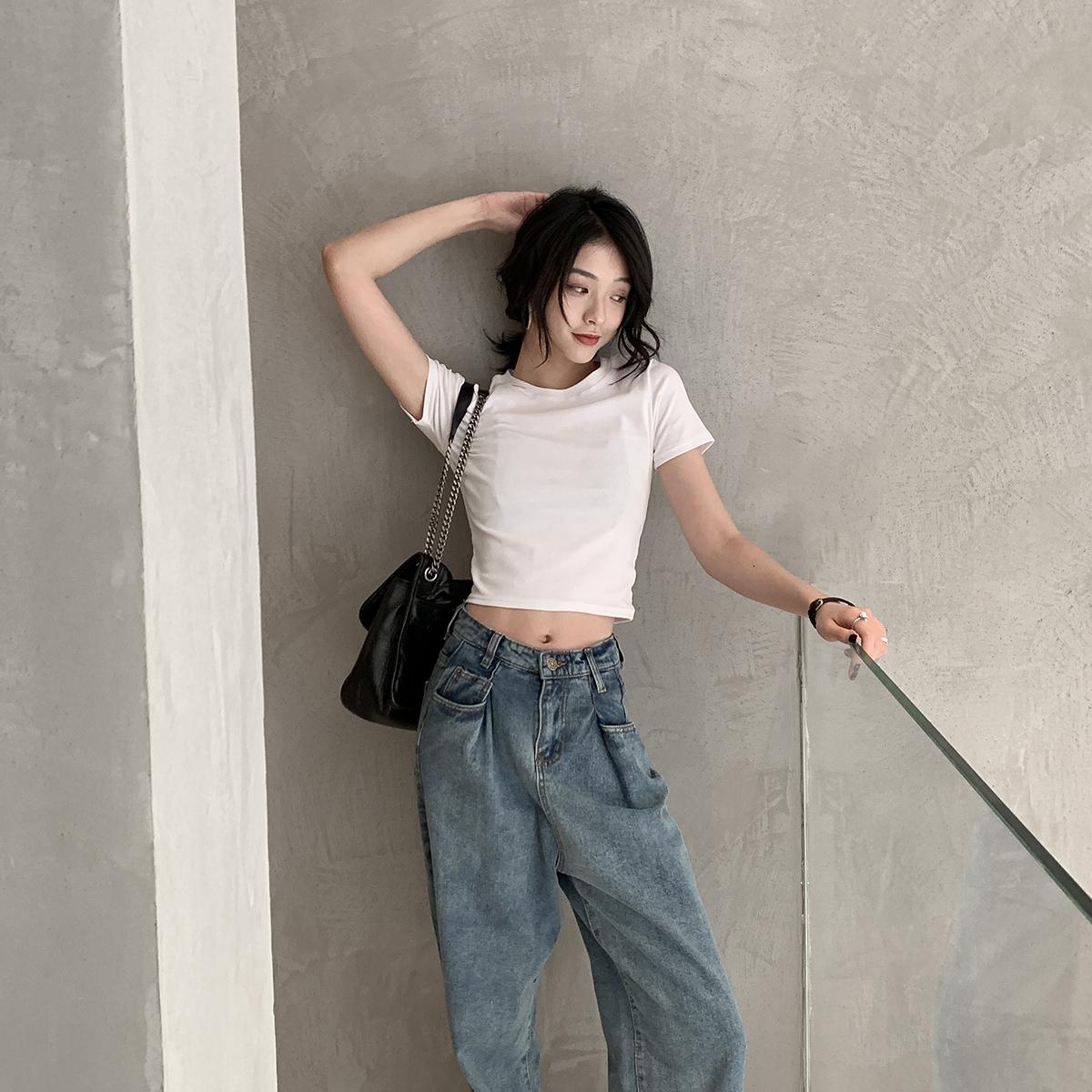 短款短袖网红t恤女2019夏潮打底衫