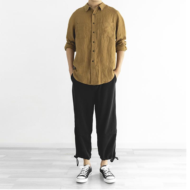 Wood mens new spring original versatile loose shirt Japanese literature linen retro design shirt mens