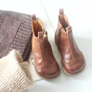 春秋复古皮鞋宝宝英伦风女童靴子