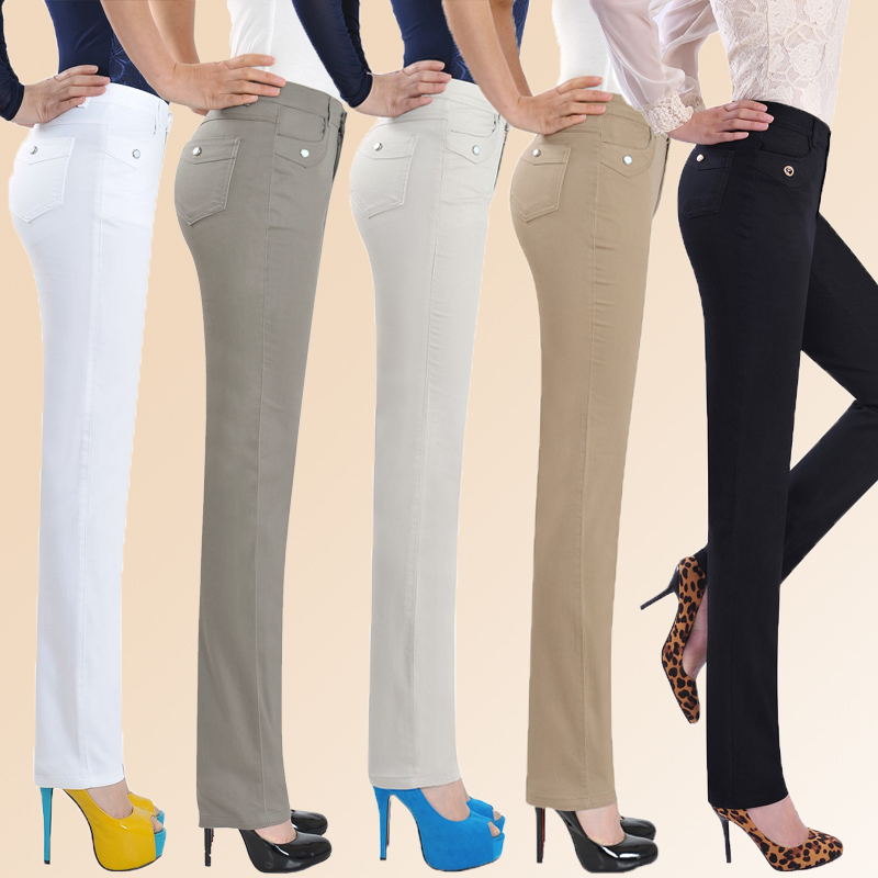 Summer new middle-aged womens pants high waist straight tube womens large mom Pants White casual pants elastic pants
