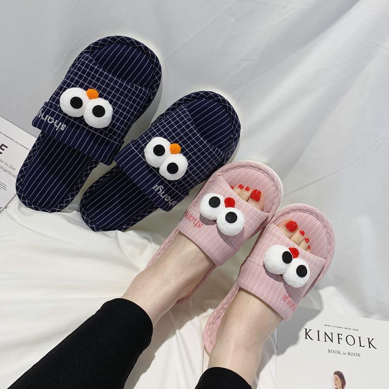 情侣亚麻拖鞋男韩版家居家室内地板防滑卡通眼睛软底布艺棉拖鞋女