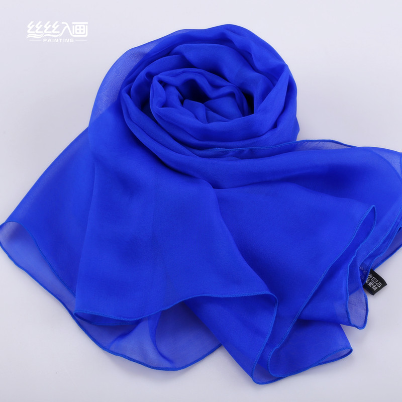 Аутентичные Корейский 100% весной и осенью шелкопряда шелковые шарфы зимой длинные платки женщин диких Шелковый шарф сплошной цвет темно-синий