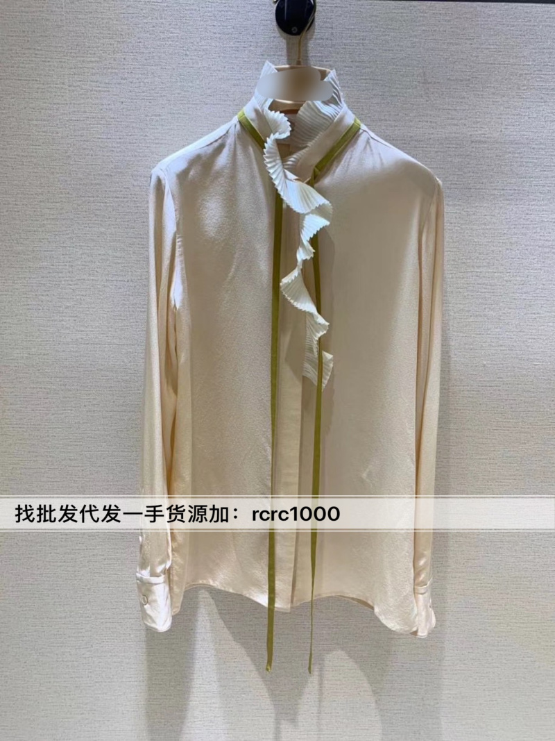 2020 show style Liu Tao same style lotus leaf edge fungus lace standing collar tie bow Long Sleeve Silk Shirt woman