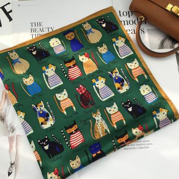 小领巾夏季韩版卡通猫咪装饰小方巾