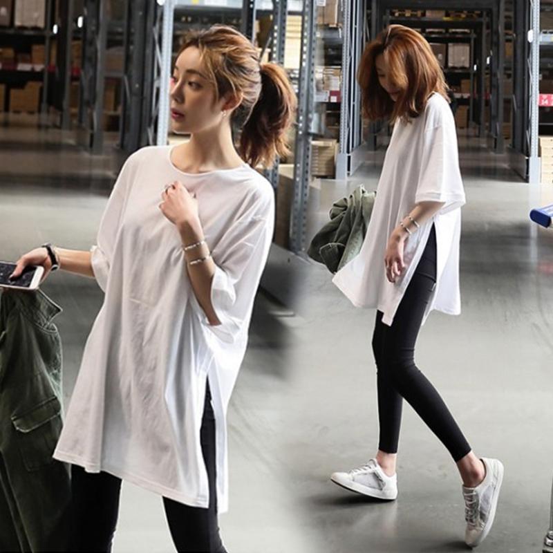 夏季新款純棉孕婦裝簡約寬松大碼白T恤中長款短袖孕婦上衣