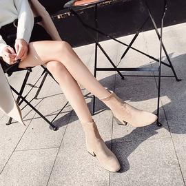 瘦瘦靴网红短靴女秋2020新款短筒袜靴女百搭马丁靴粗跟韩版靴子女图片