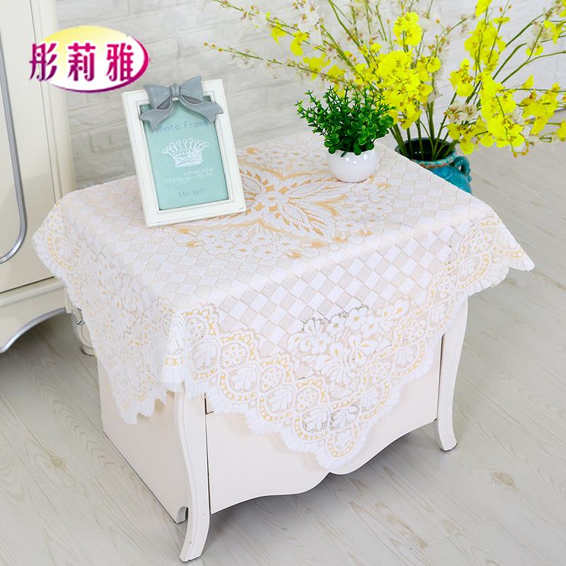 包郵鏤空蕾絲餐桌桌布電視機冰箱床頭櫃蓋巾套防塵罩方巾冰櫃蓋布