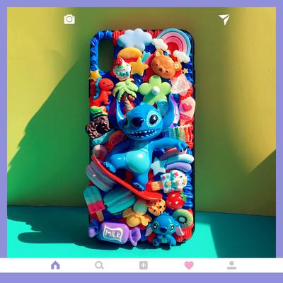 小怪兽奶油手机壳iPhone11promaxNova6P30mate20P40DIY材料包礼物