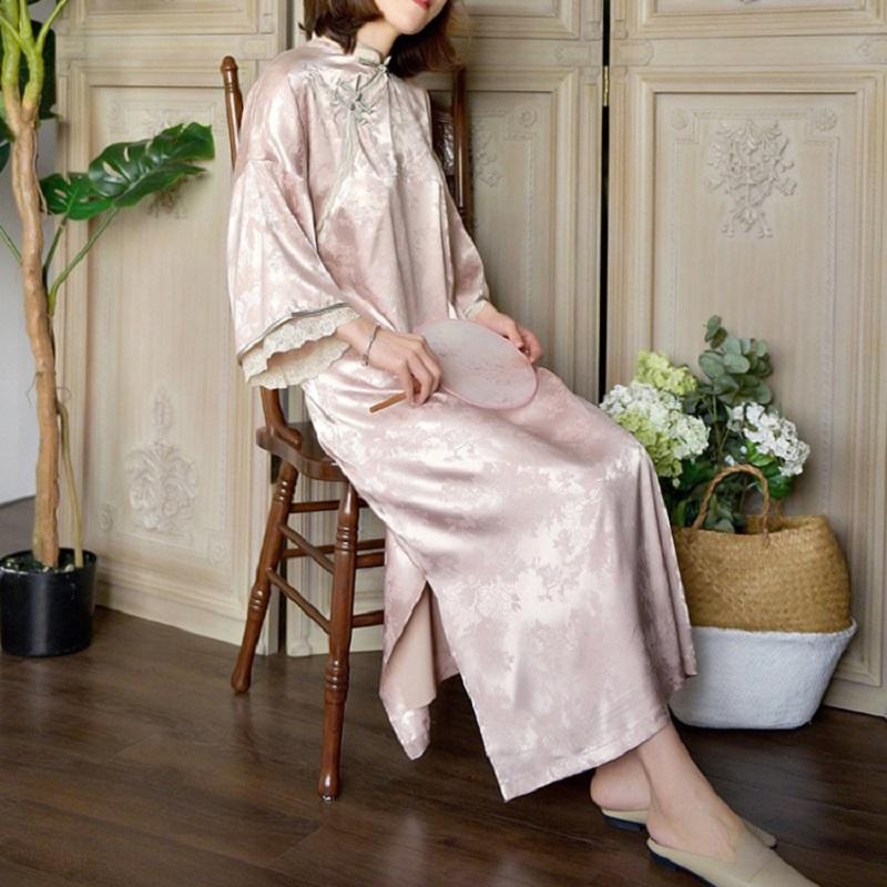 新式改良版旗袍中国风倒大袖复古民国风年轻少女长款茶服连衣裙