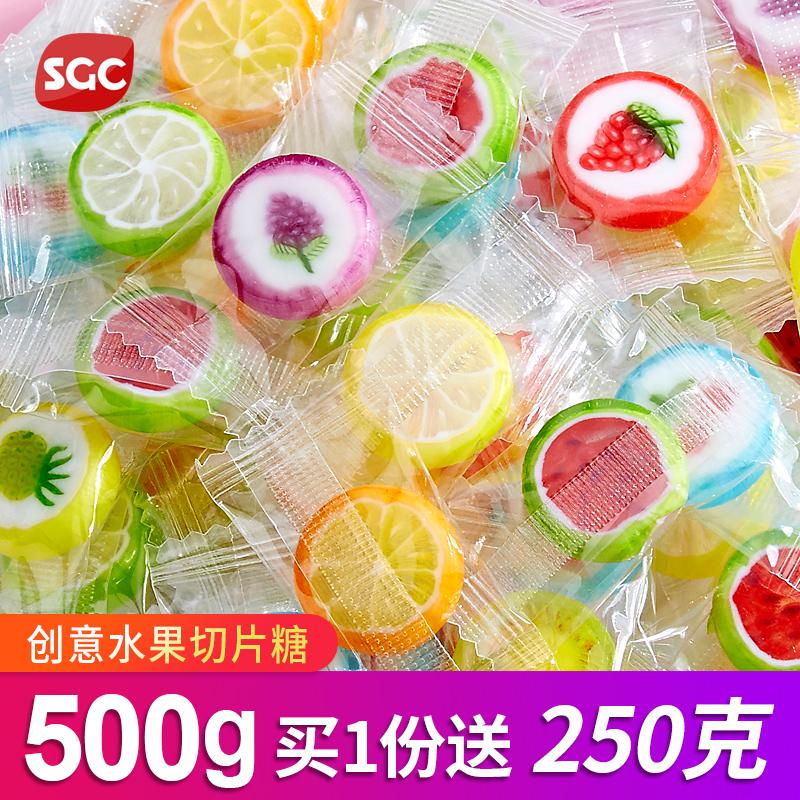 Wanghong handmade sliced sugar 500g creative fruit flavor hard candy candy bulk snacks Christmas Candy Gift