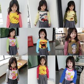 2020年女童插肩袖长袖撞色袖秋季新款卡通印花套头上衣打底衫