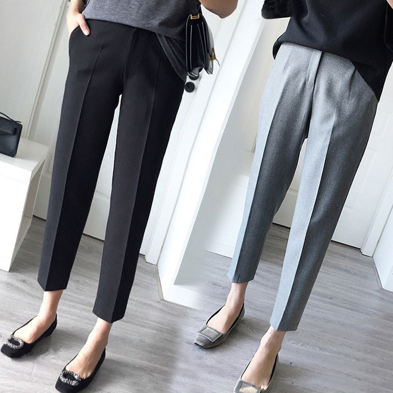 Chic suit pants women's spring Capris straight tube small feet high waist casual large size show thin trousers smoke pipe Harem Pants