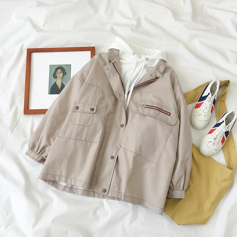 秋冬装2019新款女装韩版中长款复古工装立领宽松百搭开衫外套上衣