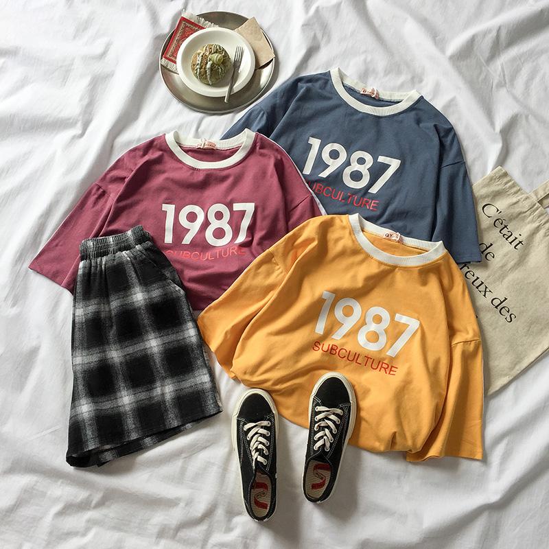 夏装2018新款女装韩版百搭宽松字母数字印花半袖拼色t恤女上衣潮