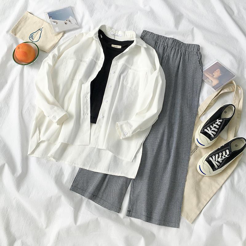 黑牛奶少女~秋装2018新款女装韩版三件套背心+衬衣+阔腿裤女套装