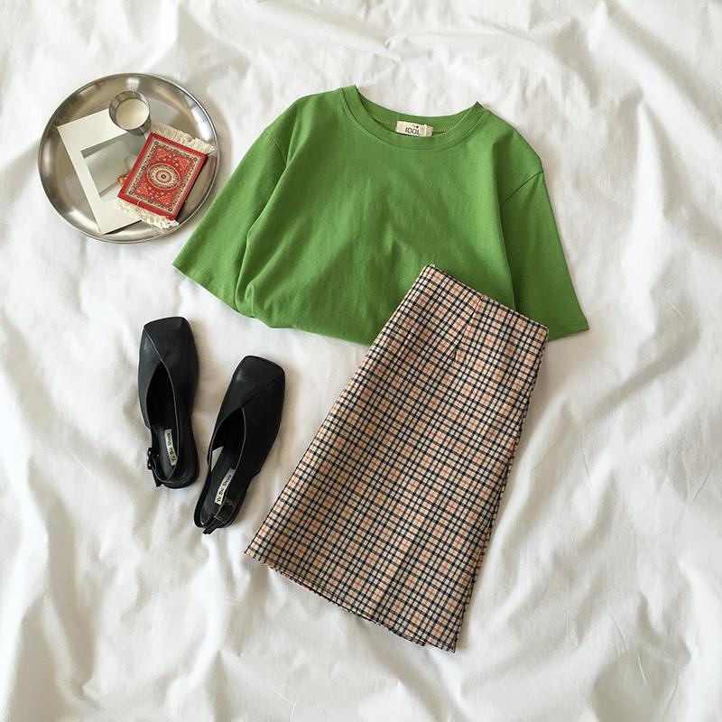 夏装2018新款女装韩版时尚两件套T恤+格子半身裙女气质百搭套装潮