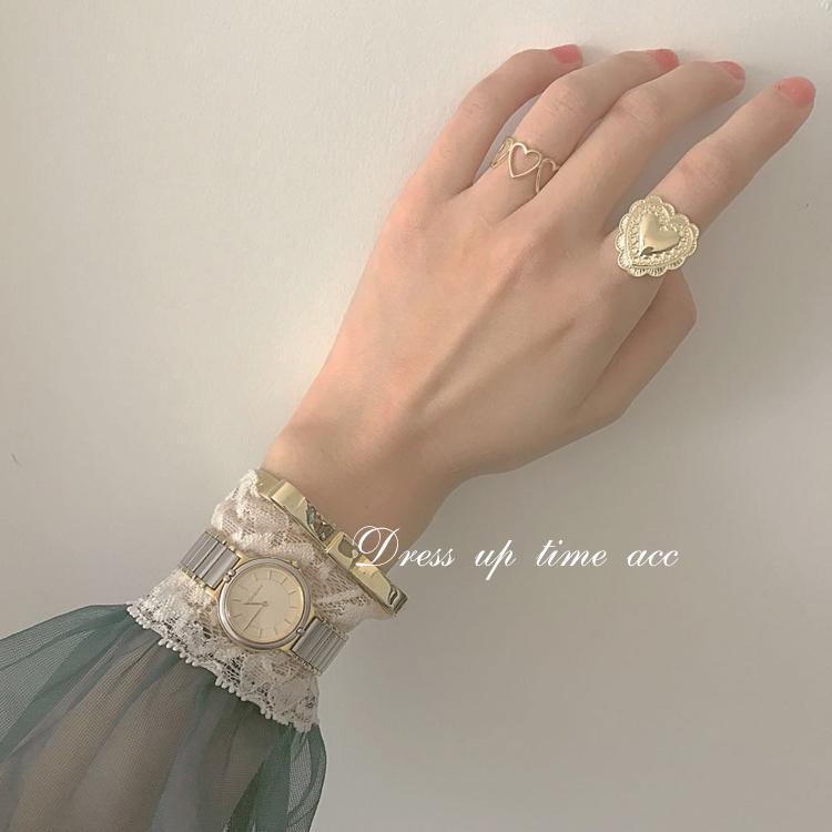 熙熙酱日本日系红人款精致复古雕花华夫格爱心LAT风戒指女指环