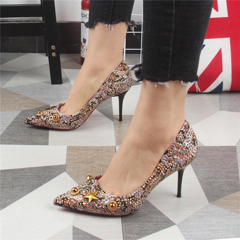欧美复古风细跟尖头女鞋铆钉亮片高跟单鞋猫跟时尚网红细跟女鞋