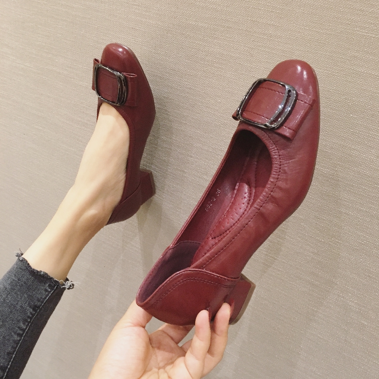 Thick heel round head new single shoes spring and autumn new set foot womens shoes size 42 soft soled womens shoes Korean version boat shoes womens shoes