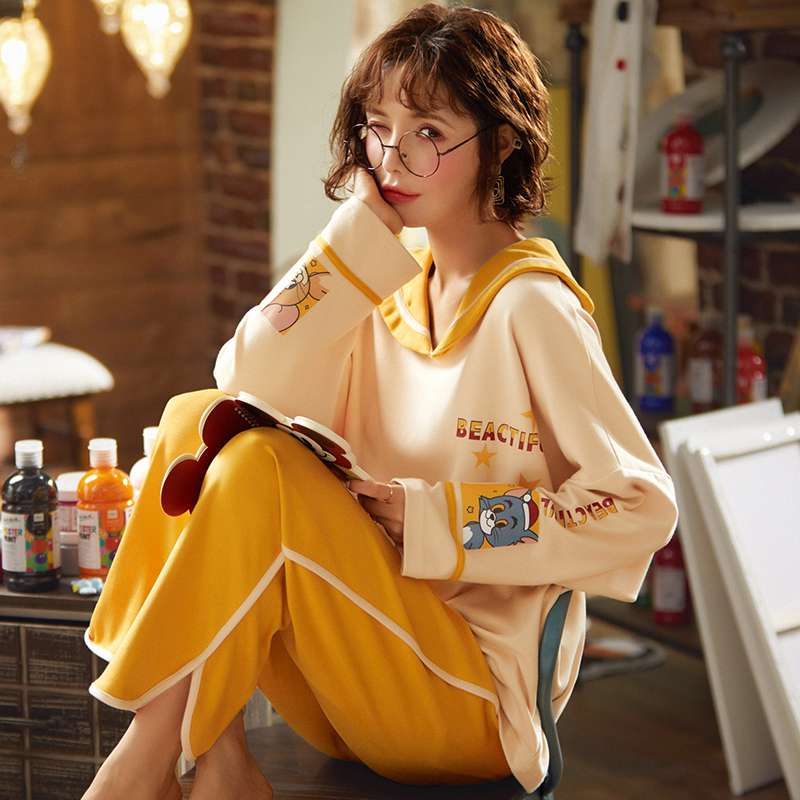 Womens pajamas 2020 new fashion spring autumn combed cotton long sleeve Pants Set casual Lapel wide sleeve home wear set