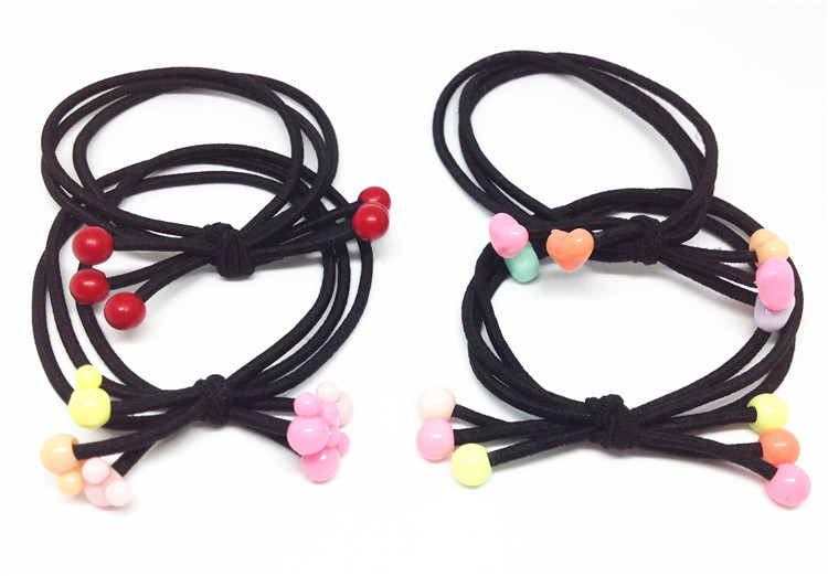 Hair accessories headdress Korean red headband tie hair band Red Bead Hair rope three in one children and girls color love